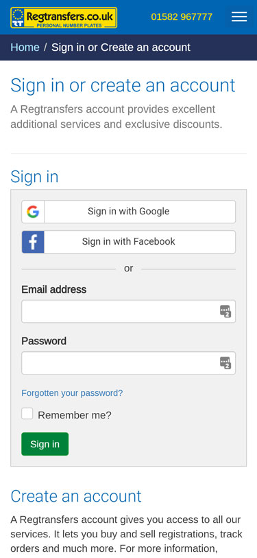 Signing in to your account (mobile view)