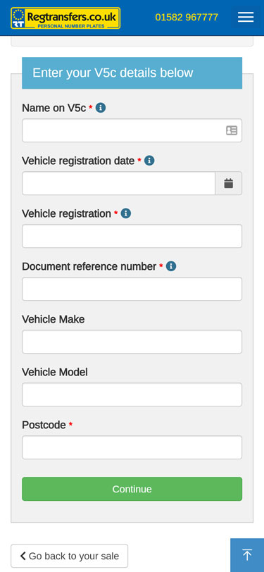 Complete the form (mobile view)