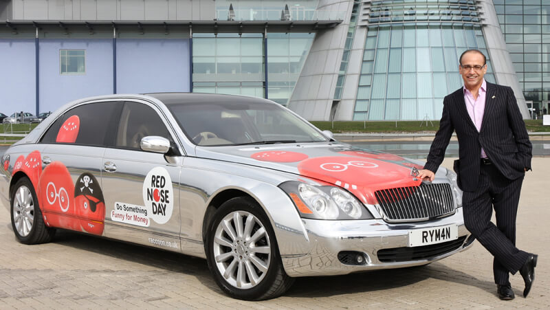 Theo Paphitis with the Maybach 'Chromobile'