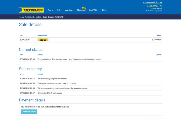 Payment details section on the Sale details page (desktop view)