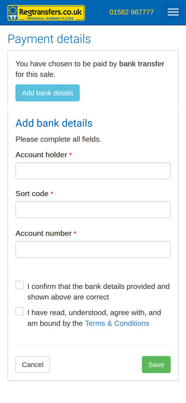 Adding your bank details (mobile view)